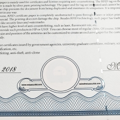 RFID Certificate Paper - HF On Paper